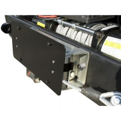 Support plaque immatriculation pour treuil à câble acier